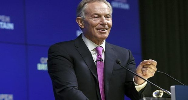 Former British Prime Minister Tony Blair makes a speech at an Open Britain event in central London, Friday Feb. 17, 2017. Blair urged voters to speak out against the government's drive to exit the EU at any cost, saying it could damage future generations. (Victoria Jones/PA via AP)