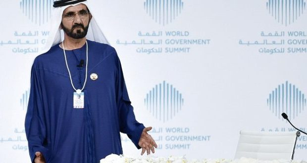 Sheikh Mohammed Bin Rashid al-Maktoum, Vice-President and Prime Minister of the UAE and Ruler of Dubai, gives a speech during a special session on 'How to Reignite the Regions Development', at World Government Summit 2017, in Dubai's Madinat Jumeirah on February 12, 2017.  / AFP / STRINGER